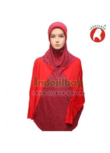Jilbab Lengan Qafiya Merah 001