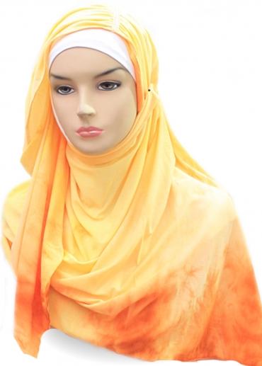Shawl Tie Dye Turban Swarovsky Orange 002